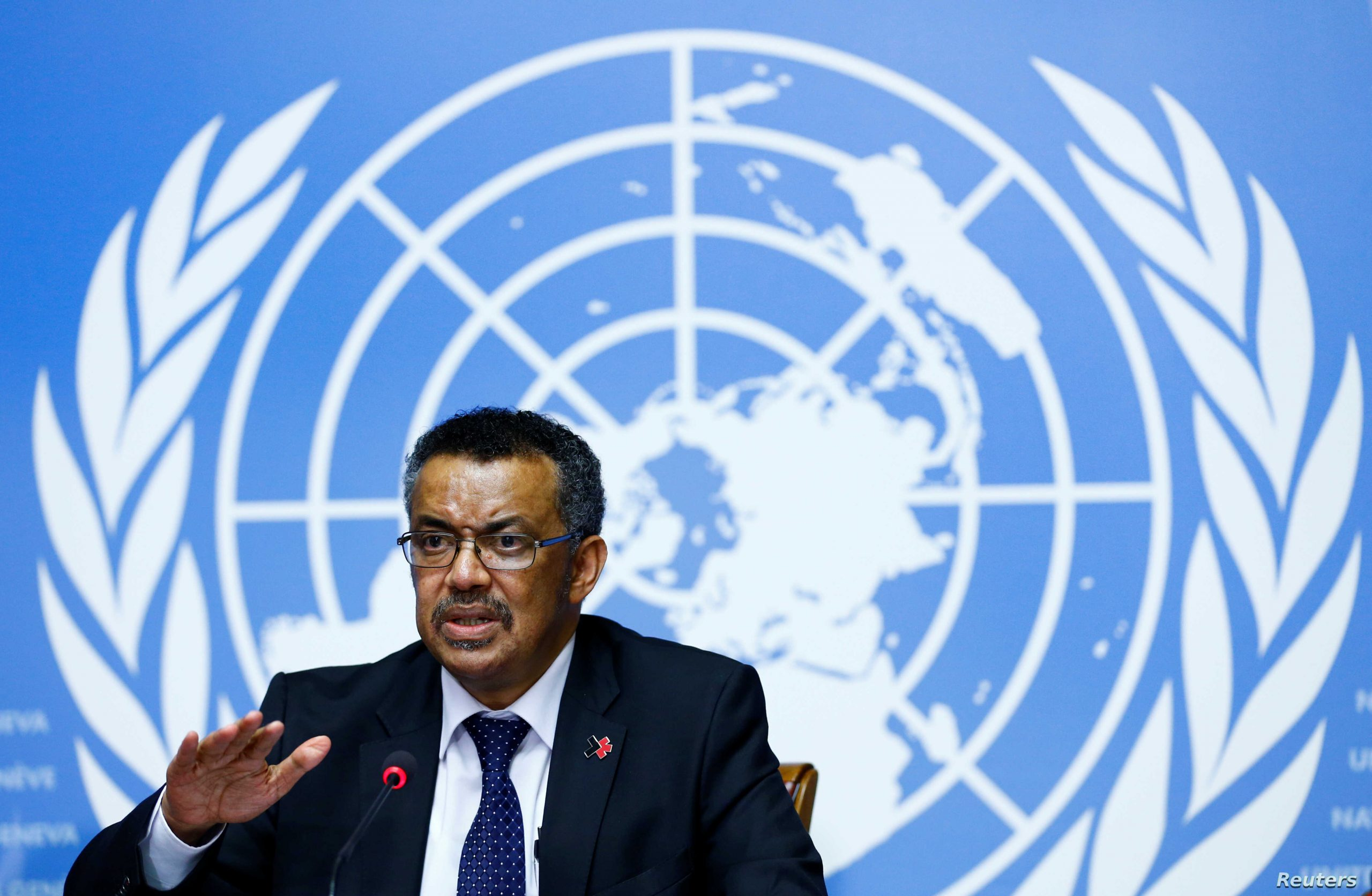 Newly elected Director-General of the WHO Tedros attends a news conference at the United Nations in Geneva