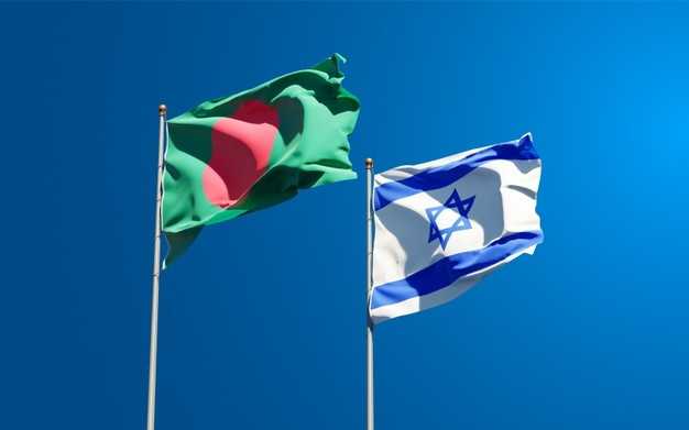 state-flags-israel-bangladesh-together-sky-background_337817-805